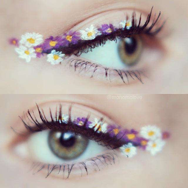Trendy w makijażu: kwiaty zamiast eyelinera