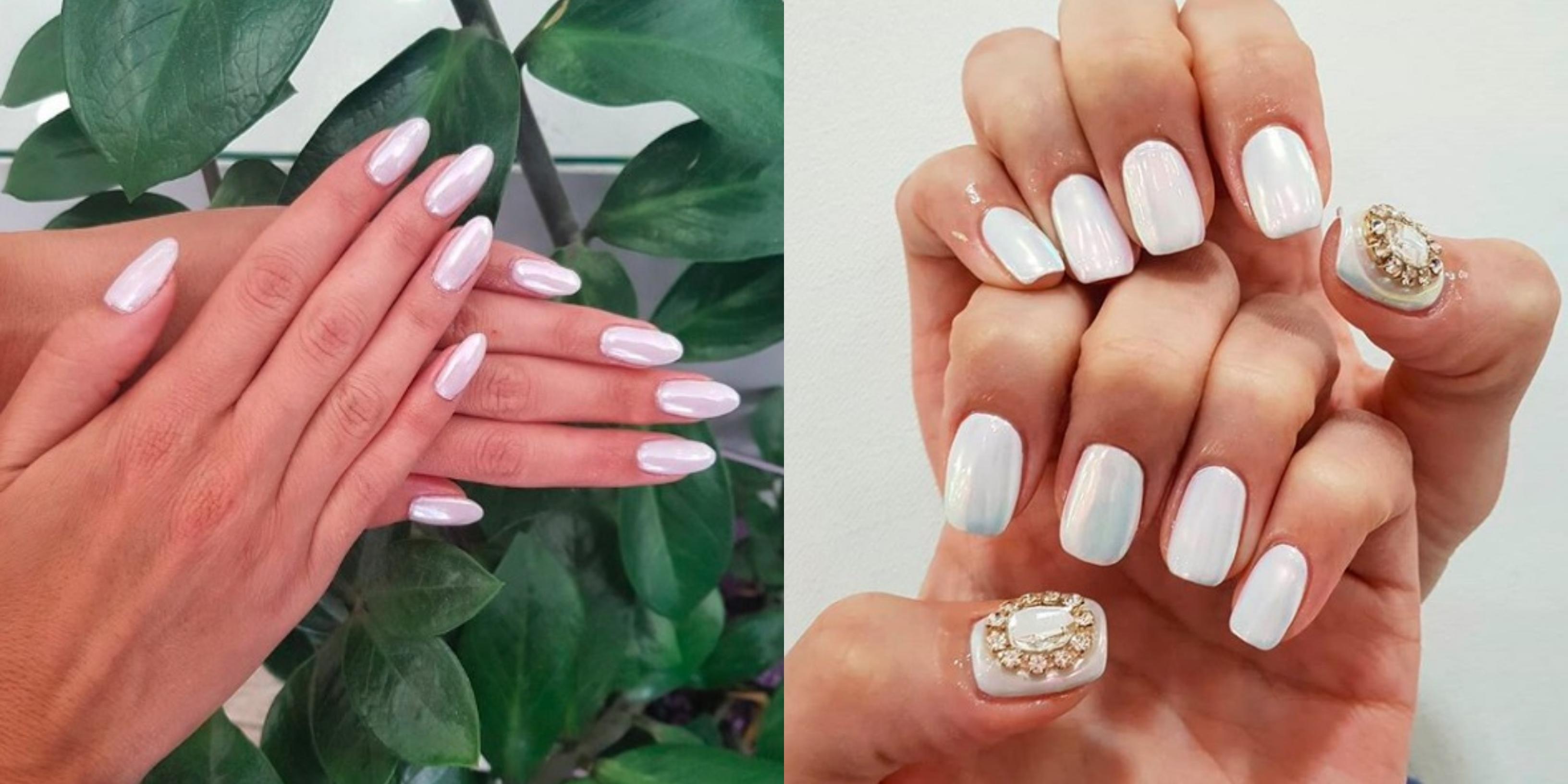Modne Paznokcie 2019 Pearl Nails Trend W Manicure Ktory